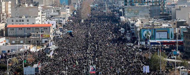 Large crowd at the funeral of Qassem Soleimani, Tehran, Iran.