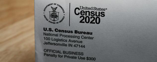 detail of a Census 2020 return envelope.
