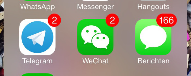 detail of smartphone apps, including WeChat.