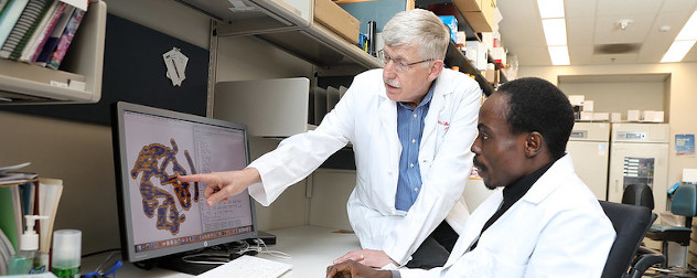 Drs. Idowu Aimola and Francis Collins, the later of whom remains skeptical of human challenge trials, looking at a computer imaging program.