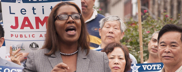 Letitia James speaking at a campaign event.