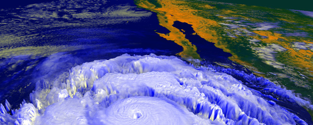 3D rendering of 1997's hurricane Linda off the U.S. West Coast.