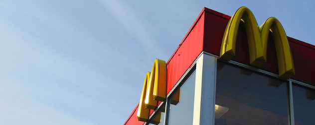detail of a McDonald's restaurant, showing the Golden Arches logo.
