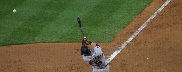 San Francisco Giants outfielder Mike Yastrzemski at bat.