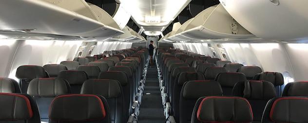 Boeing 737 MAX cabin interior.