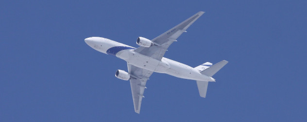 El Al Boeing 777, seen in flight from below.