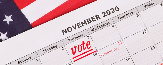 calendar with a 'vote' reminder on Nov. 3 against an American flag background.