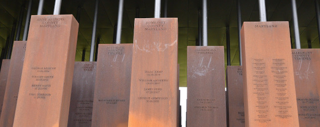 detail of the National Memorial for Peace and Justice, which commemorates lynching victims.