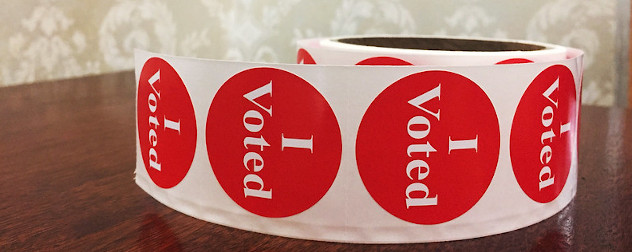 'I Voted' stickers in a roll.