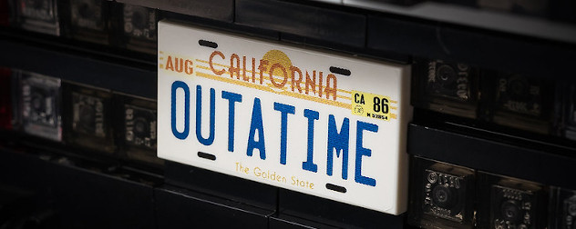 detail of a Lego model of the Delorean from 'Back to the Future,' feating the 'Outatime' license plate.