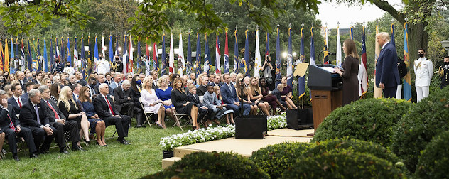 Judge Amy Coney Barrett delivers in the Rose Garden of the White House.