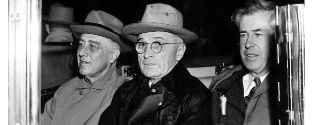 President Franklin D. Roosevelt, Vice-President-elect Harry S. Truman, and Vice-President Henry Wallace in a car.