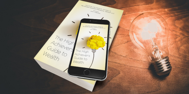 cover of book and e-book of 'The High Achiever's Guide to Wealth,' with lightbulb.