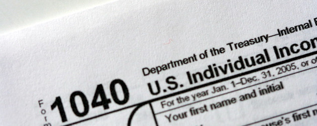 detail of IRS tax Form 1040.