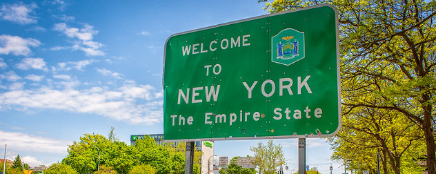 road sign that reads 'Welcome to New York The Empire State.'