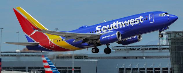 a Southwest-fleet Boeing MAX 737 taking off at McCarran International Airport, Las Vegas, Nevada.