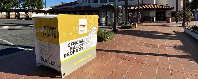 Official ballot dropbox in Orange County, California.