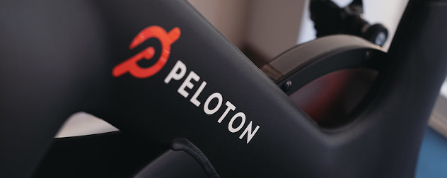 detail of a Peloton brand stationary bike.