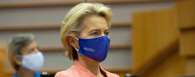 European Commission President Ursula von der Leyen of the EU, masked.