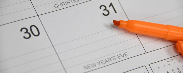 calendar detail of December 31, New Year's Eve, with a highlighter.