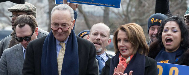 House Speaker Nancy Pelosi and Senate Majority Leader Charles Schumer attend the Our Rights, Our Fight Rally on Capitol Hill, February 14, 2018.