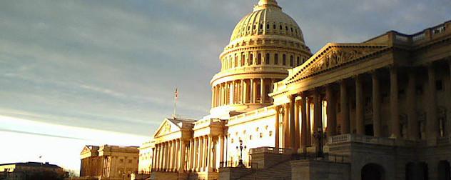 U.S. Capitol building at sunrise.